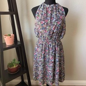 H&M floral open back dress and high in front